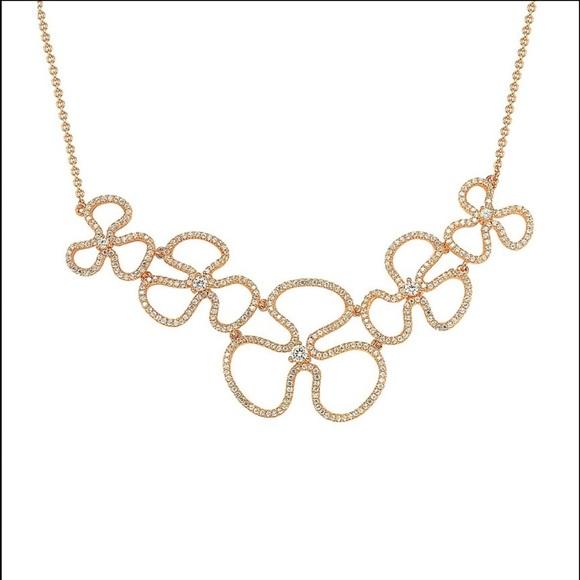 d3445268d29ce Suzy Levian 14K Rose Gold Floral Bib Necklace